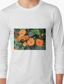 Orange flowers and green leaves. Long Sleeve T-Shirt