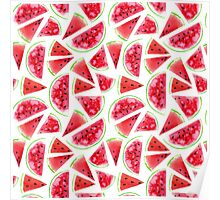 Watercolor watermelon slices  Poster