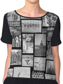 Vintage Swimmers - B&W  Chiffon Top