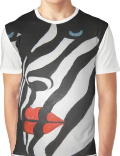 beautiful ZEBRA FACE SEXY RED LIPS BLACK WHITE MODERN ART PAINTING Graphic T-Shirt