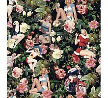 Floral and Pin Up Girls Pattern Photographic Print
