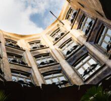 A Courtyard Shaped Like a Hug - Antoni Gaudi La Pedrera or Casa Mila in Barcelona, Spain Sticker