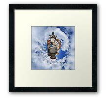 Funny street view of little french city Selestat. Curvature of space, little planet effect, panoramic view. Framed Print