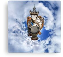 Funny street view of little french city Selestat. Curvature of space, little planet effect, panoramic view. Canvas Print