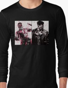 Daredevil and Punisher Ink Splatter Long Sleeve T-Shirt