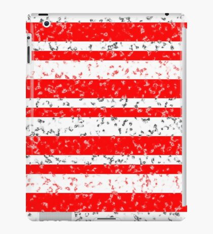 Red White Stripe Patchy Marble Pattern iPad Case/Skin