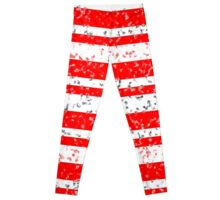 Red White Stripe Patchy Marble Pattern Leggings