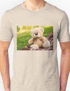 Teddy bear on the green grass Unisex T-Shirt