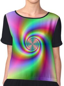 Psychedelic Neon Spiral Chiffon Top