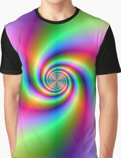 Psychedelic Neon Spiral Graphic T-Shirt