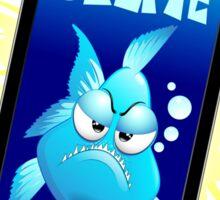 Selfie Grumpy Fish Cartoon on Smartphone Sticker