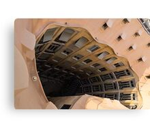 The Lost Straw Hat - Antoni Gaudi's La Pedrera Courtyard From Above - Horizontal Canvas Print