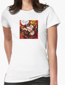 Pop Art wave, drowning in climate change, pollution Womens Fitted T-Shirt
