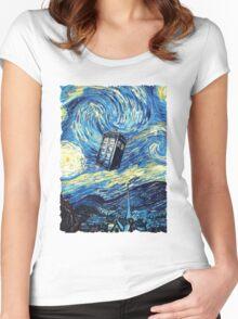 Tardis Starry Night Art Painting Women's Fitted Scoop T-Shirt