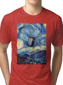 Tardis Starry Night Art Painting Tri-blend T-Shirt