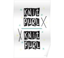 Crafty Kitsch - Knit Purl (black text) Poster