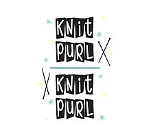 Crafty Kitsch - Knit Purl (black text) Photographic Print