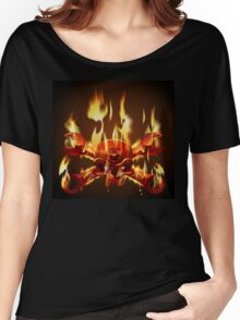 Metal Jolly Roger in flame Women's Relaxed Fit T-Shirt