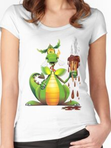 Fun Dragon Cartoon with melted Ice Cream Women's Fitted Scoop T-Shirt