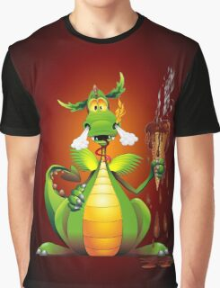Fun Dragon Cartoon with melted Ice Cream Graphic T-Shirt