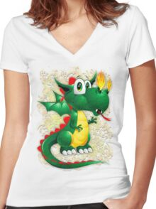 Baby Dragon Cute Cartoon  Women's Fitted V-Neck T-Shirt