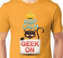 Keep Calm and Geek on! Cartoon Cat Unisex T-Shirt
