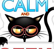 Keep Calm and Geek on! Cartoon Cat Sticker