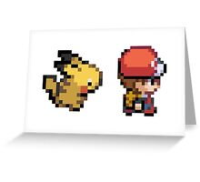 Red and Pikachu 16 bit Greeting Card