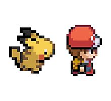 Red and Pikachu 16 bit Photographic Print
