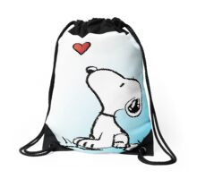 snoopy fly heart Drawstring Bag