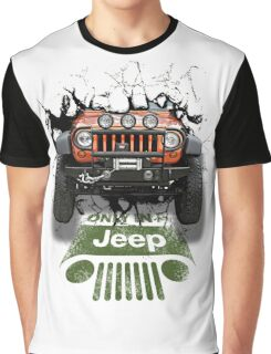 Jeep Breaking Wall 3D Art Graphic T-Shirt