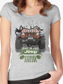 Jeep Breaking Wall 3D Art Women's Fitted Scoop T-Shirt
