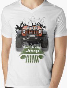 Jeep Breaking Wall 3D Art Mens V-Neck T-Shirt