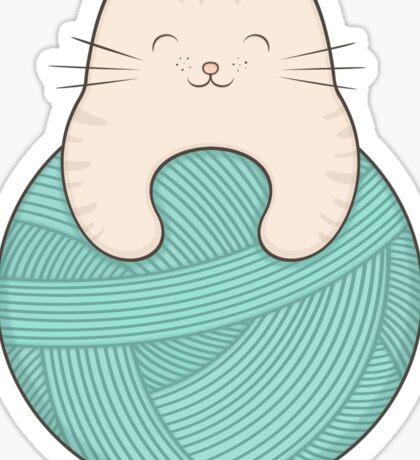 knit cat Sticker