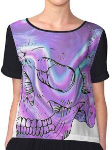 holographic skull Chiffon Top