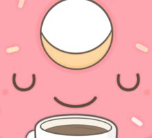 donut loves coffee Sticker