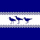 3 Navy Blue And White Coastal Decor Sandpipers by BailoutIsland