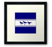3 Navy Blue And White Coastal Decor Sandpipers Framed Print