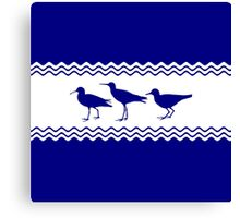 3 Navy Blue And White Coastal Decor Sandpipers Canvas Print