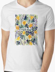 Tropical Wanderlust – Orange & Emerald Mens V-Neck T-Shirt
