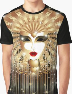 Golden Mask Venice Carnival Graphic T-Shirt