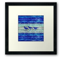 Rustic Navy Blue Coastal Decor Sandpipers Framed Print