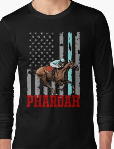 USA flag american pharoah racehorse Long Sleeve T-Shirt