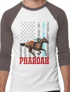 USA flag american pharoah racehorse Men's Baseball ¾ T-Shirt