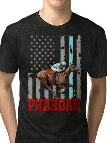USA flag american pharoah racehorse Tri-blend T-Shirt