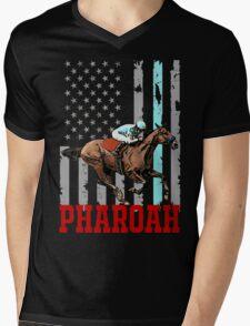USA flag american pharoah racehorse Mens V-Neck T-Shirt