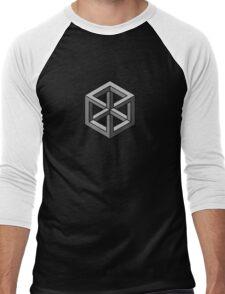 Mind Bending Isometric Cube Men's Baseball ¾ T-Shirt