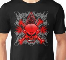 Red Fire Skull with Tribal Tattoos Unisex T-Shirt