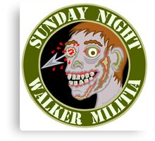 Zombie Patch Funny Sunday Night Walker Militia Canvas Print