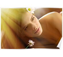 Beautiful young woman with camomile Poster